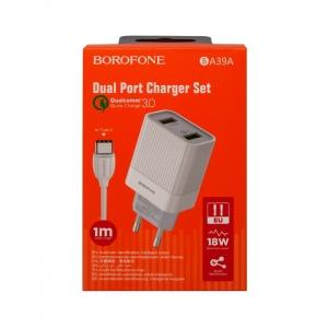 Сетевая зарядка Borofone BA39A QC 3.0/2.0 с кабелем USB - Type-C (белая)