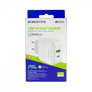 Сетевая зарядка Borofone BA46A 18W USB/Type-C QC 3.0/PD (белая)