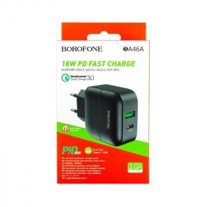 Сетевая зарядка Borofone BA46A 18W USB/Type-C QC 3.0/PD (черная)