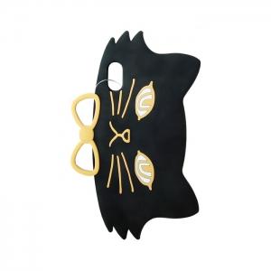 Чехол-игрушка для Apple iPhone X/Xs Черный кот с бантом