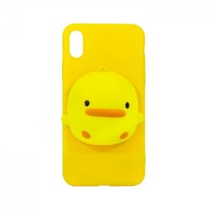 Чехол-игрушка для Apple iPhone X/Xs Цыпленок Антистресс желтый