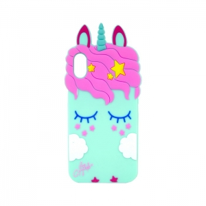 Чехол-игрушка для Apple iPhone X/Xs Единорог в облаках аквамарин