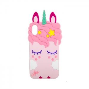 Чехол-игрушка для Apple iPhone X/Xs Единорог в облаках розовый