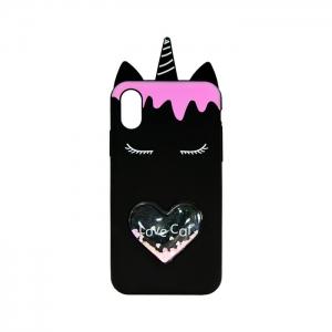 Чехол-игрушка для Apple iPhone X/Xs Единорог Love Cat черный