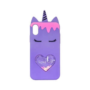 Чехол-игрушка для Apple iPhone X/Xs Единорог Love Cat фиолетовый