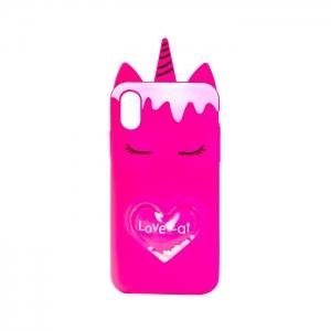 Чехол-игрушка для Apple iPhone X/Xs Единорог Love Cat маджента
