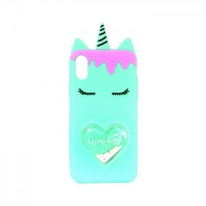 Чехол-игрушка для Apple iPhone X/Xs Единорог Love Cat мятный