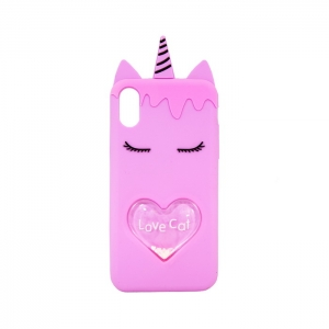 Чехол-игрушка для Apple iPhone X/Xs Единорог Love Cat розовый