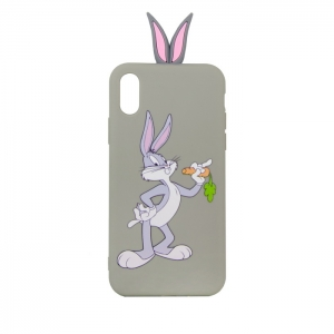 Чехол-игрушка для Apple iPhone X/Xs Кролик с морковкой