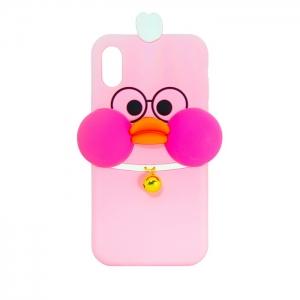 Чехол-игрушка для Apple iPhone X/Xs Утка с колокольчиком розовая