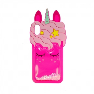 Чехол-игрушка для Apple iPhone Xs Max Спящий Единорог маджента
