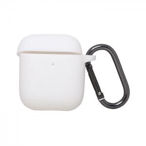 Чехол силиконовый для AirPods 1/2 с карабином белый