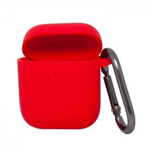 Чехол силиконовый для AirPods 1/2 с карабином красный