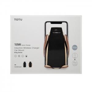 Автомобильный держатель с беспроводной зарядкой раздвижной TOTU CACW-029 10W (воздуховод)