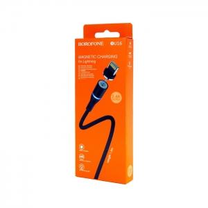 Кабель USB Lightning магнитный для iPhone/iPad Borofone BU16 1.2m (черный)