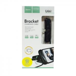 Кабель USB lightning для iPhone/iPad HOCO U66 с подставкой 1.2m (черный)