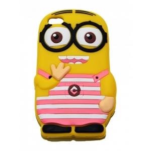 Чехол-игрушка для iPhone 4/4S Миньон Дэйв в розовую полоску