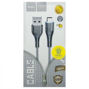 Кабель USB Micro HOCO U59 1.2m плоский плетеный (серый)