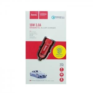 Автомобильное зарядное устройство HOCO Z32 3.0 A (красное)