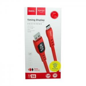 Кабель USB Type-C HOCO S6 1.2m плоский (красный)