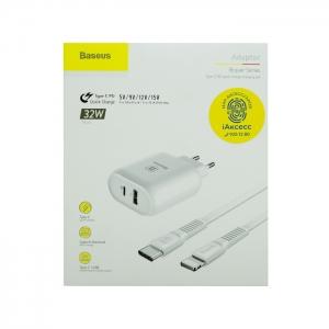 Сетевая зарядка Baseus TZTUN-BJ02 32W USB/Type-C QC 3.0/PD (белая)