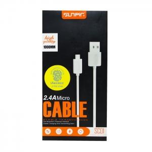 Кабель USB Micro Sunpin SC-01 1m длинный разъем (белый)