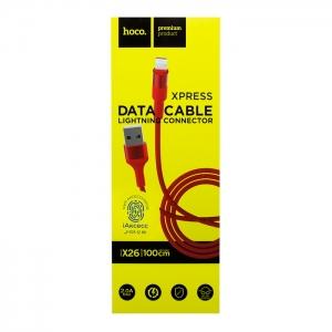 Кабель USB lightning для iPhone/iPad HOCO X26 1м плетеный (красный)