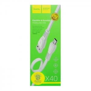 Кабель USB Micro HOCO X40 1m плоский (белый)
