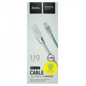 Кабель USB Micro HOCO U9 1.2m плоский плетеный (серый)